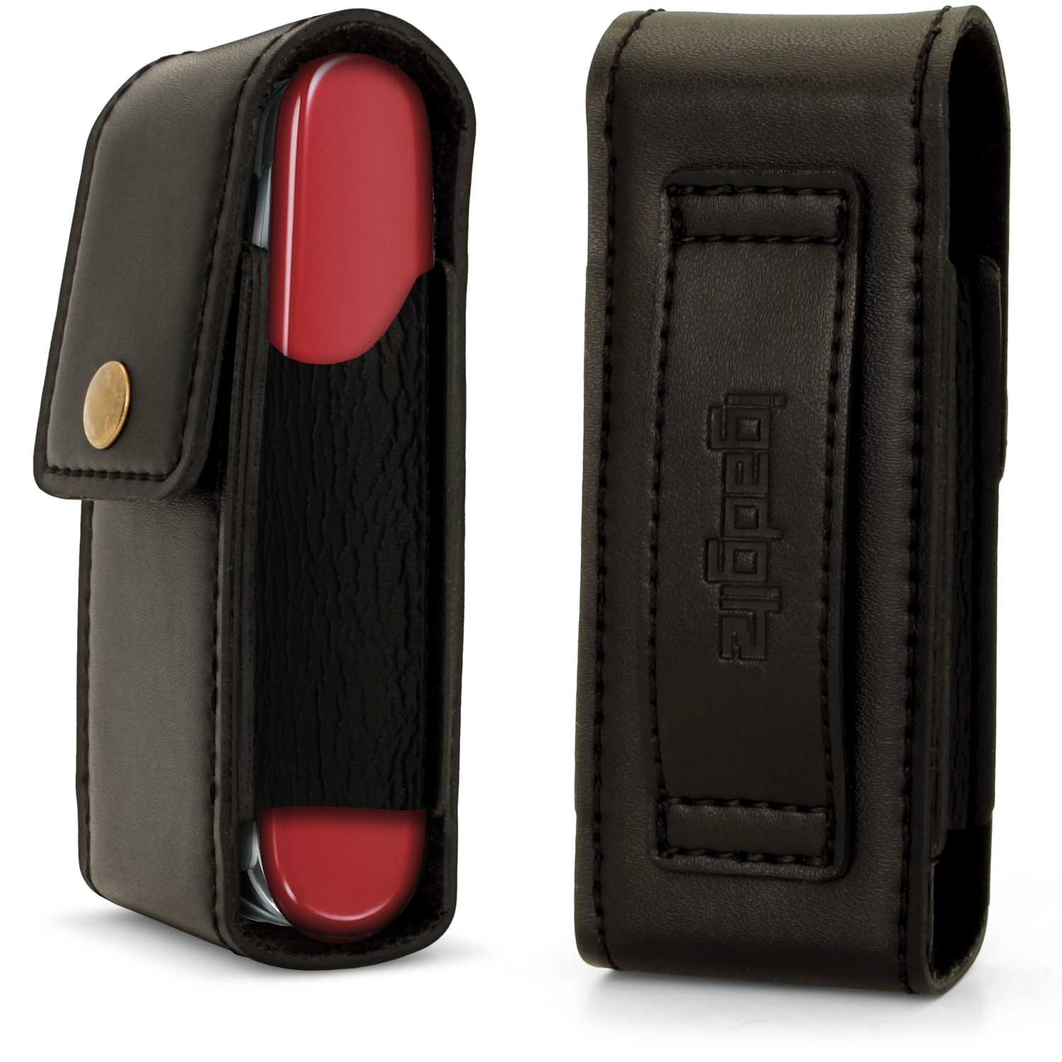 Black Genuine Leather Pouch Case Cover For Swiss Army