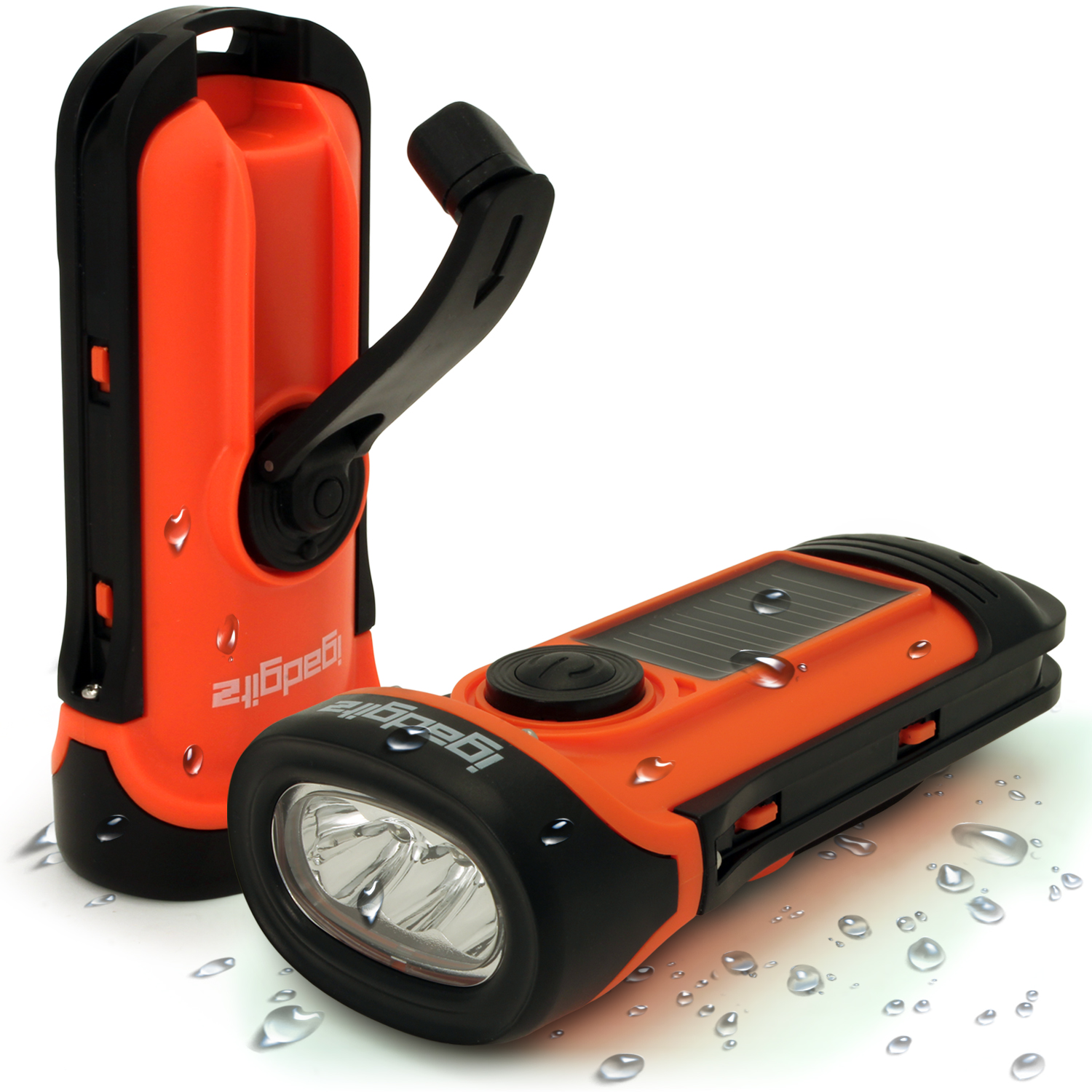 3 LED Solar & Hand Crank Rechargeable Torch 5m Waterproof ...