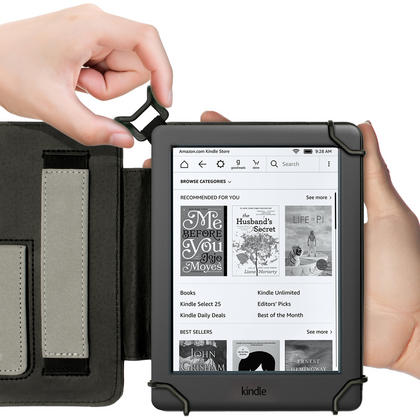 "iGadgitz Black PU Leather Folio Case Cover for Amazon Kindle E-Reader 6"" 2016 with Hand Strap & Viewing Stand Thumbnail 8"