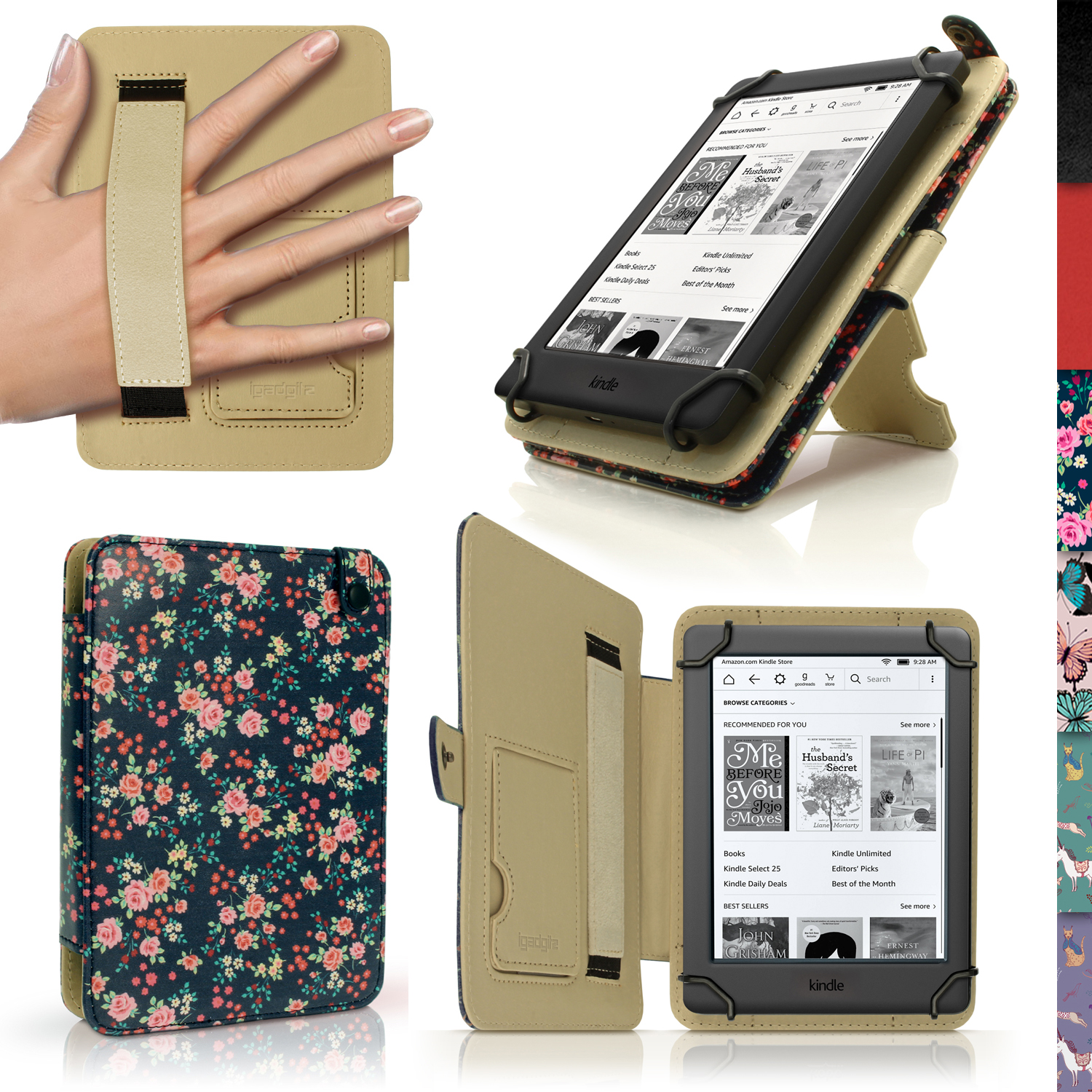 """iGadgitz Pink Rose Floral PU Leather Case Cover for Amazon Kindle E-Reader 6"""" 2016 with Hand Strap & Viewing Stand"""