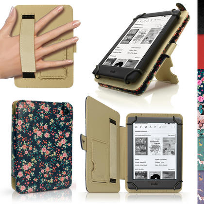 """iGadgitz Pink Rose Floral PU Leather Case Cover for Amazon Kindle E-Reader 6"""" 2016 with Hand Strap & Viewing Stand Thumbnail 1"""