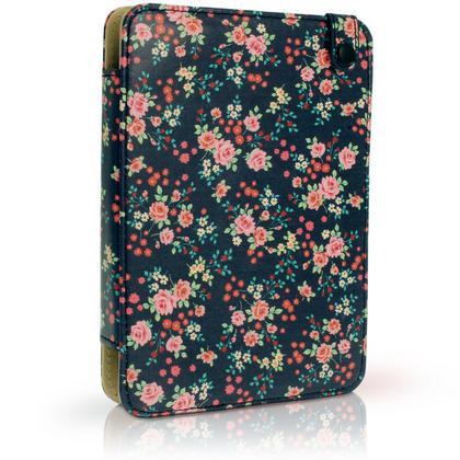 """iGadgitz Pink Rose Floral PU Leather Case Cover for Amazon Kindle E-Reader 6"""" 2016 with Hand Strap & Viewing Stand Thumbnail 2"""
