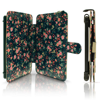 """iGadgitz Pink Rose Floral PU Leather Case Cover for Amazon Kindle E-Reader 6"""" 2016 with Hand Strap & Viewing Stand Thumbnail 4"""