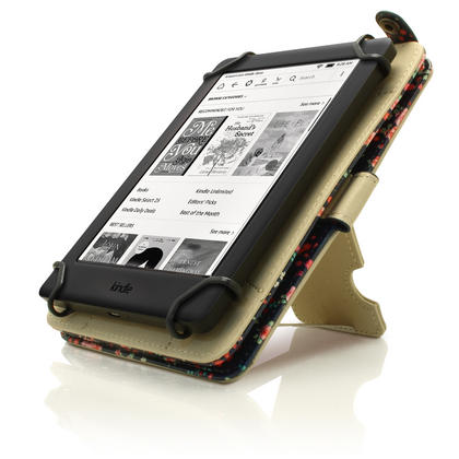 """iGadgitz Pink Rose Floral PU Leather Case Cover for Amazon Kindle E-Reader 6"""" 2016 with Hand Strap & Viewing Stand Thumbnail 7"""