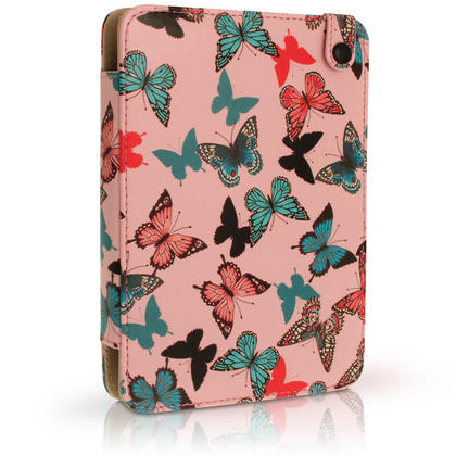 "iGadgitz Butterfly Pattern PU Leather Case Cover for Amazon Kindle E-Reader 6"" 2016 with Hand Strap & Viewing Stand Thumbnail 2"