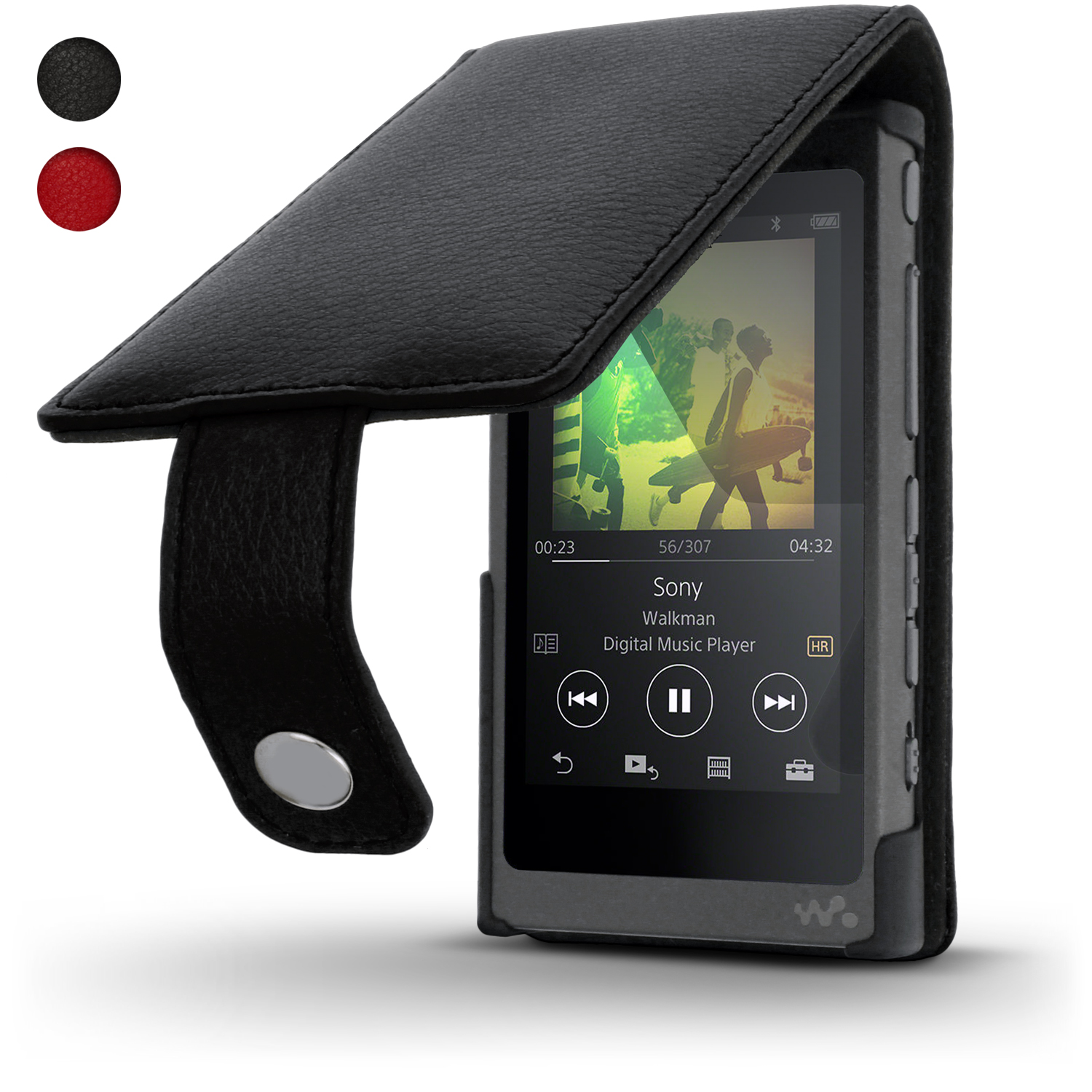 iGadgitz Leather Flip Case Cover for Sony Walkman NW-A35 with Magnetic Closure + Screen Protector