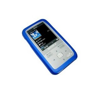 BLUE Silicone Skin Case Cover for Sony Walkman Photo NWZ-S515 NWZS515 series + free screen protector (NWZS515L NWZS515B NWZS515P NWZS515W NWZ-S610 NWZ Preview