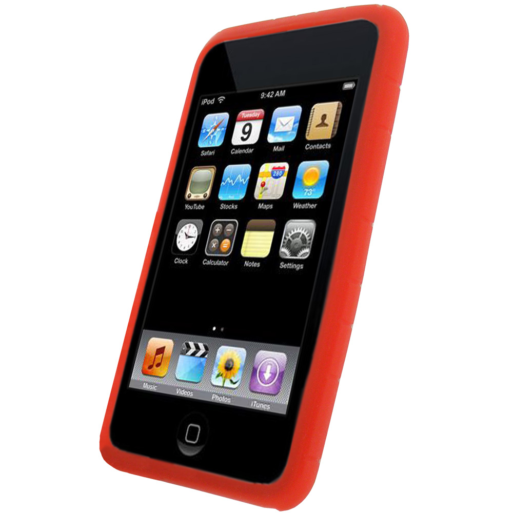 igadgitz red silicone skin case for apple ipod touch 2nd. Black Bedroom Furniture Sets. Home Design Ideas
