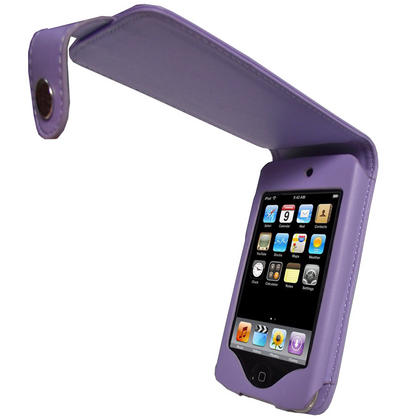 iGadgitz Purple Leather Case Cover for Apple iPod Touch 2nd & New 3rd Generation 8gb, 16gb, 32gb & 64gb + Belt Clip Thumbnail 1
