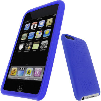iGadgitz Blue Silicone Skin Case for Apple iPod Touch 2nd & 3rd Gen 8gb, 16gb, 32gb & 64gb with Patterned Back Thumbnail 1