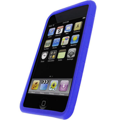 iGadgitz Blue Silicone Skin Case for Apple iPod Touch 2nd & 3rd Gen 8gb, 16gb, 32gb & 64gb with Patterned Back Thumbnail 2
