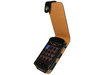 View Item iGadgitz Black / Tan Flip-Top Leather Case Cover for BlackBerry Storm 9500 / 9530 + Screen Protector