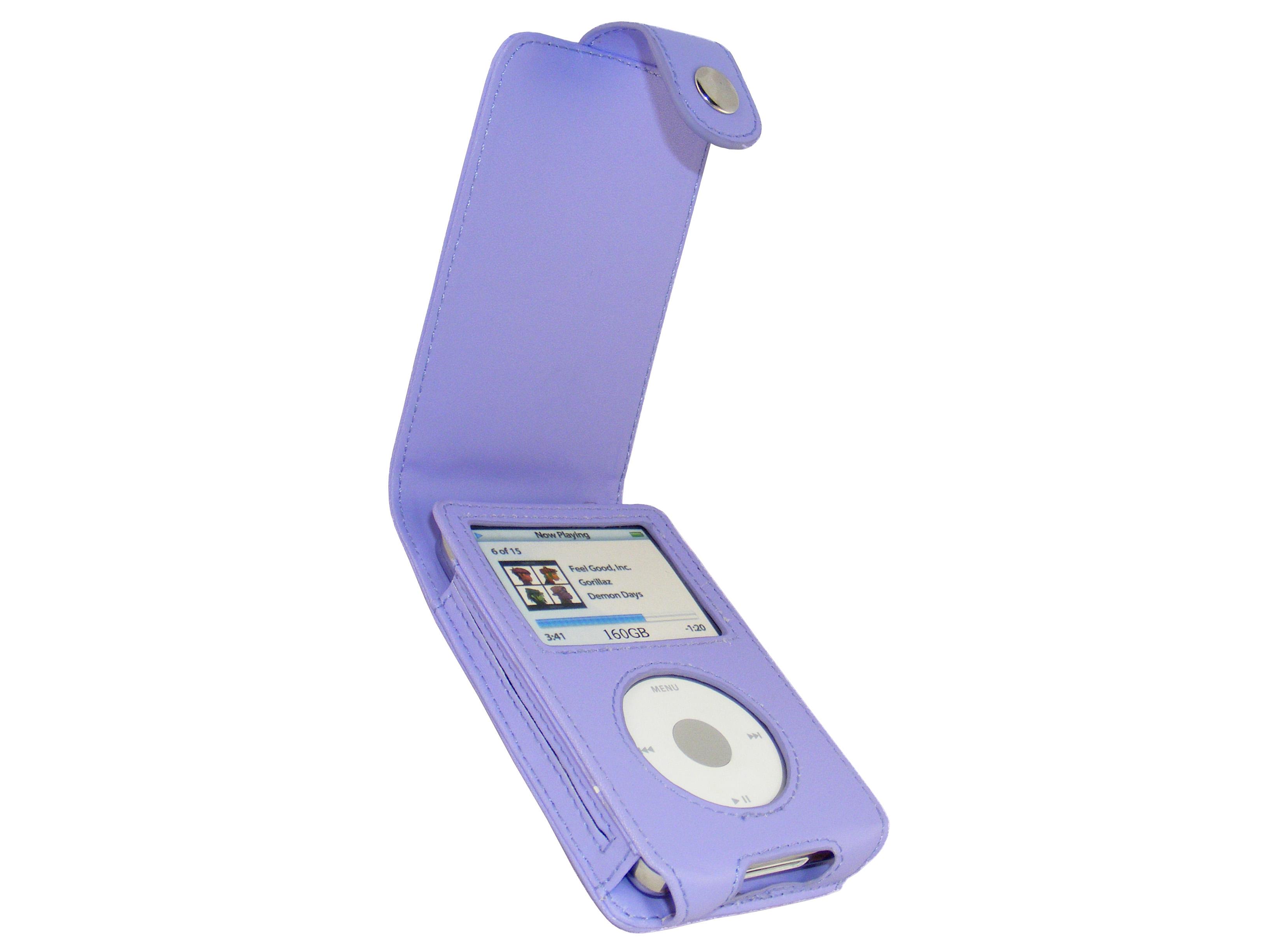 iGadgitz Purple PU Leather Case for Apple iPod Classic 80gb, 120gb & latest 160gb + Belt Clip & Screen Protector