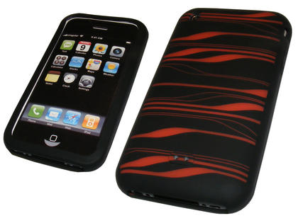 BLACK & RED Striped Silicone Skin Case Cover for Apple iPhone 3G & New 3GS 8GB, 16GB & 32GB + Screen Protector Preview