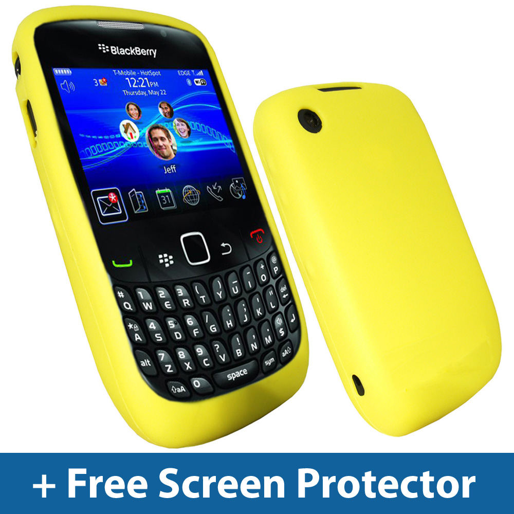 Yellow Silicone Case for BlackBerry Curve 8520 9300 3G Gemini Skin Cover Holder Enlarged Preview