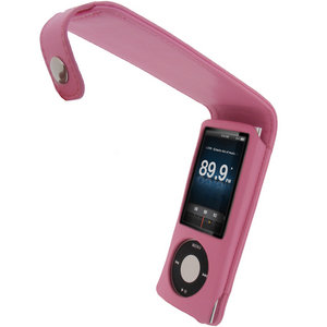 iGadgitz PINK PU Leather Case Cover Holder for New Apple iPod Nano 5th Gen Generation (With Video Camera) 8GB, 16GB + Screen Protector & Detachable Caribiner Preview