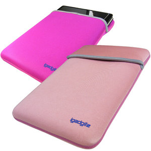 "iGadgitz Pink/Baby Pink Reversible Neoprene Sleeve Case Cover for 10-10.2"" Advent 4213, 4214, Milano & 4211-C Netbook Preview"