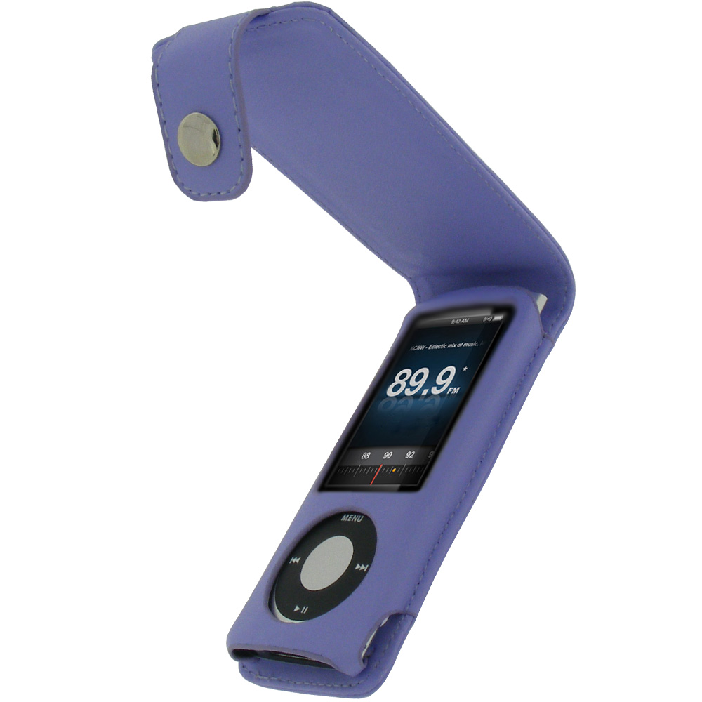 purple pu leather case for apple ipod nano 5th generation. Black Bedroom Furniture Sets. Home Design Ideas