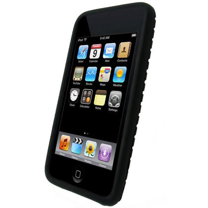 iGadgitz Black Silicone Tyre Tread Case for Apple iPod Touch 2nd & 3rd Gen 8GB, 16GB, 32GB & 64GB + Screen Protector Thumbnail 2