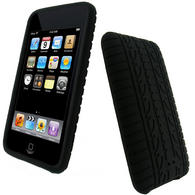 iGadgitz Black Silicone Tyre Tread Case for Apple iPod Touch 2nd & 3rd Gen 8GB, 16GB, 32GB & 64GB + Screen Protector