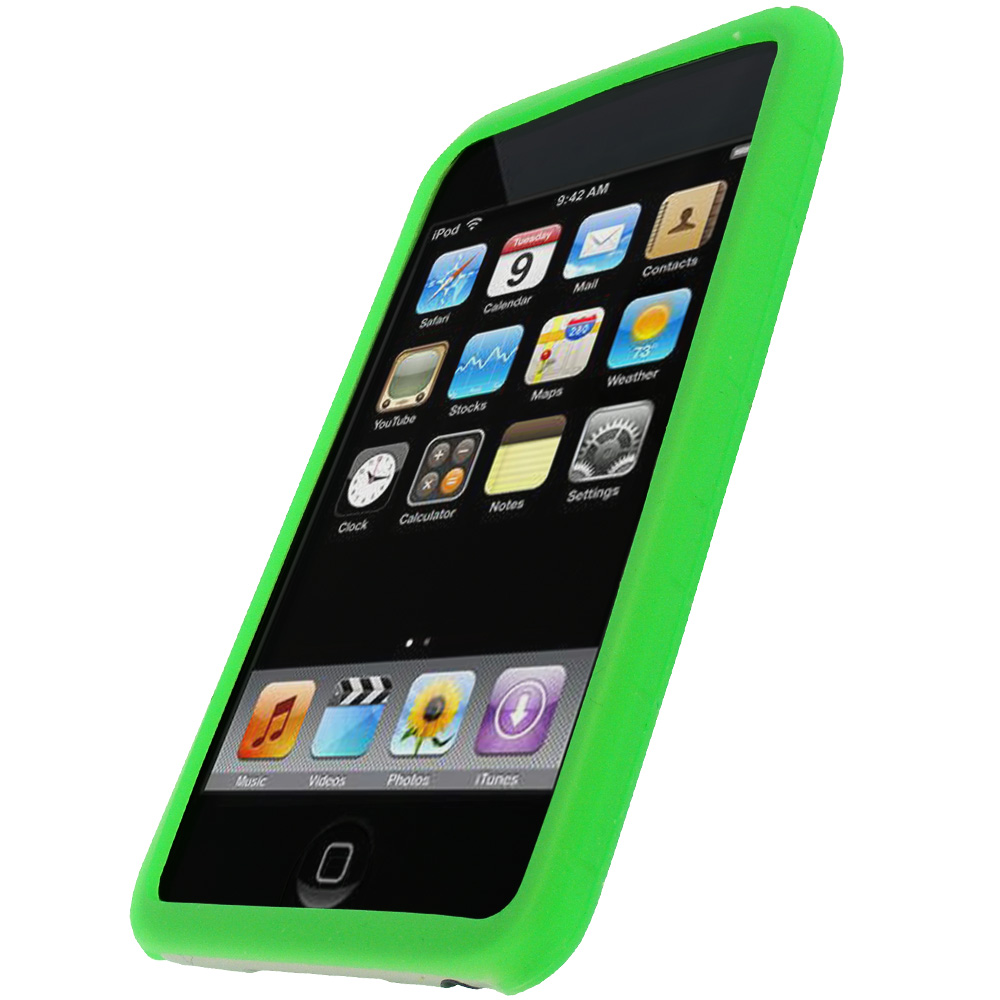 igadgitz green silicone skin case for apple ipod touch 2nd. Black Bedroom Furniture Sets. Home Design Ideas