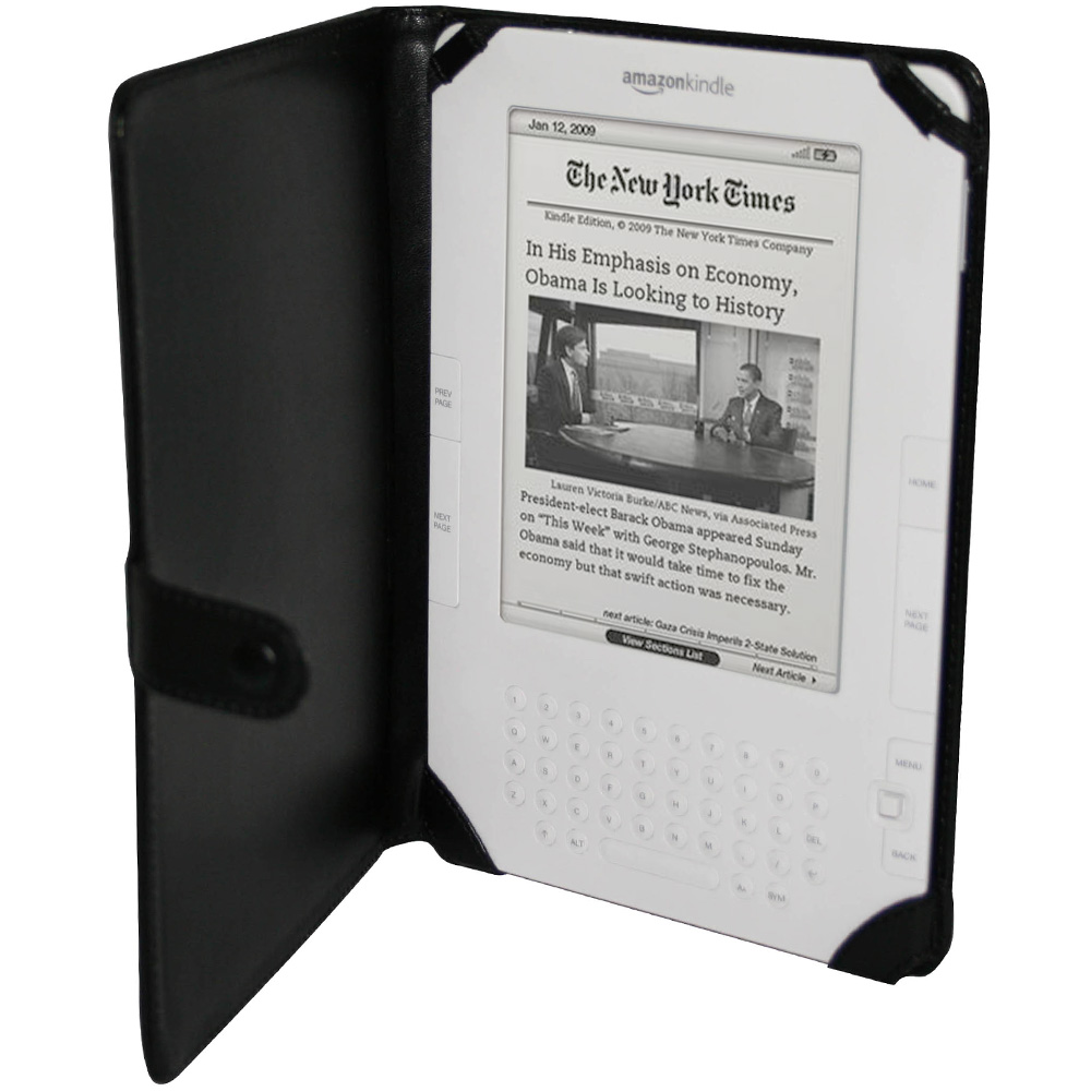 Black Genuine Leather Case for Amazon Kindle 2 Cover Holder Enlarged Preview