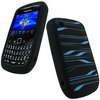 View Item iGadgitz Black & Blue Striped Silicone Skin Case Cover for BlackBerry Curve Gemini 8520 & Curve 3G 9300 + Screen Protector