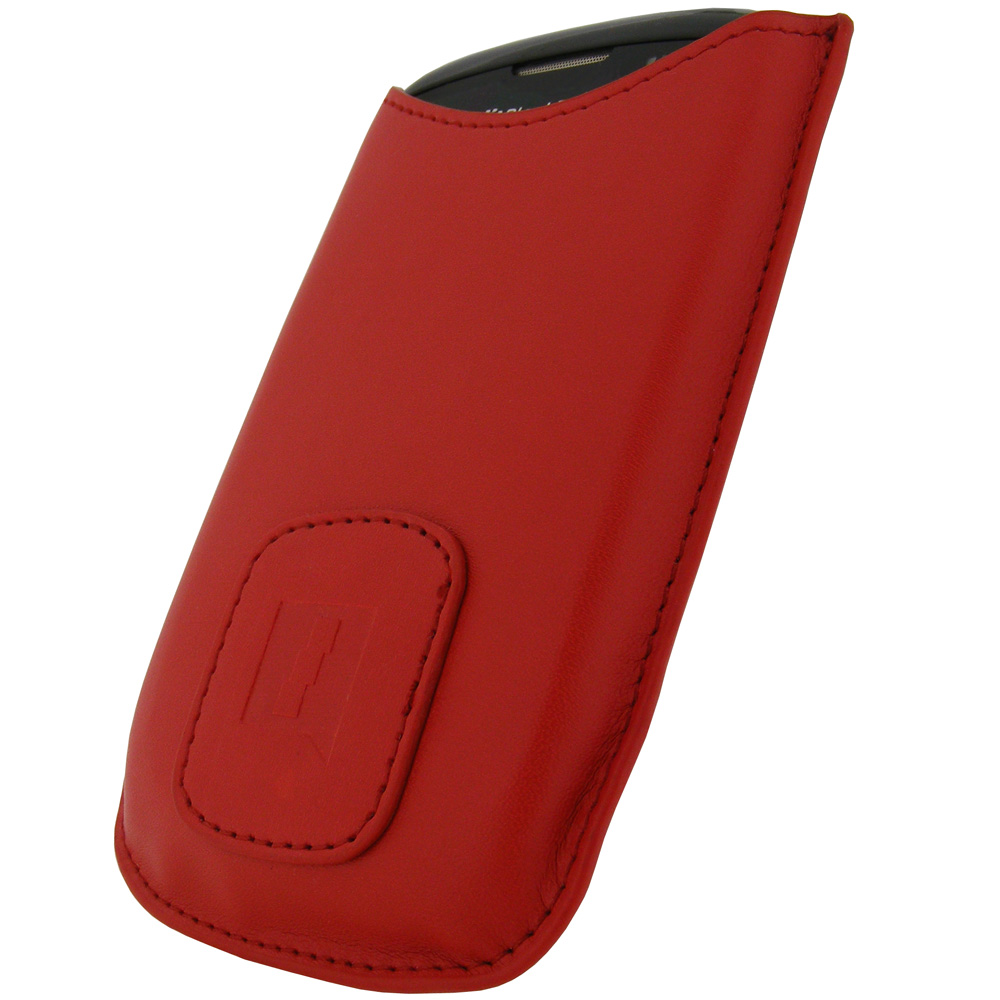 Red PU Leather Case for BlackBerry Curve 8520 Gemini Cover Holder Enlarged Preview
