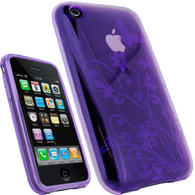 View Item iGadgitz Butterfly Purple Durable Crystal Gel Skin (Thermoplastic Polyurethane TPU) Case Cover for Apple iPhone 3G & 3GS + Screen Protector