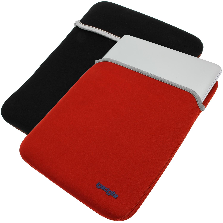Rouge noir tui housse case r versible pour apple mackbook for Housse cuir macbook pro 13