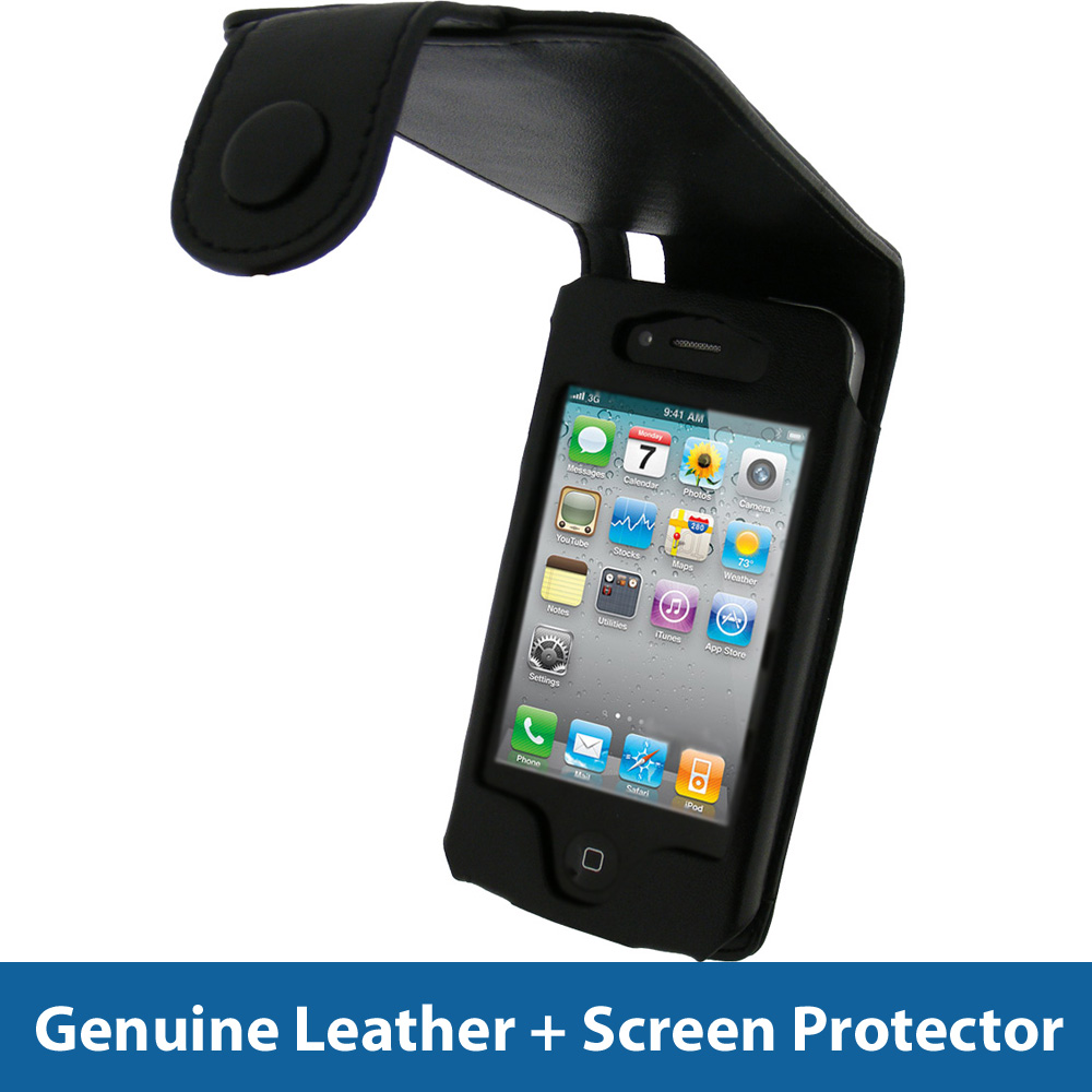 Phone 4s Black Cases Black leather case for apple