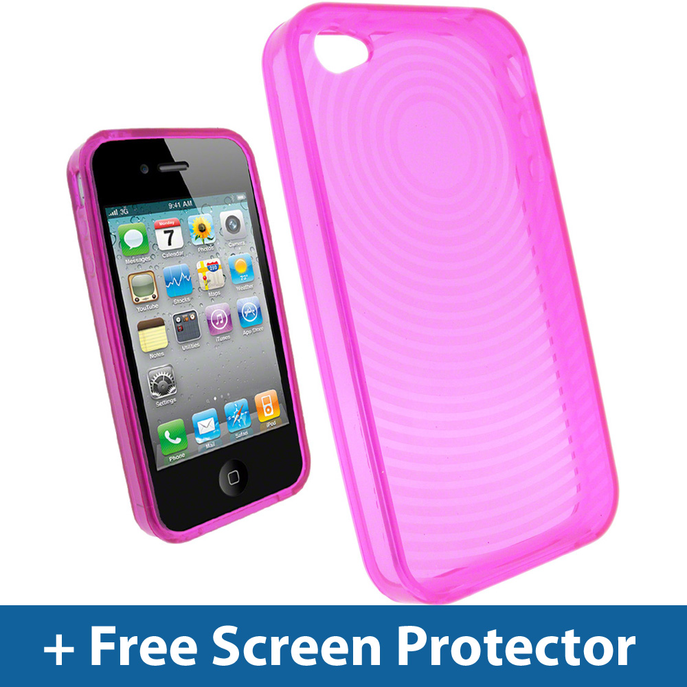 Pink Spiral Gel Skin Case Cover for Apple iPhone 4 HD 4G 16GB 32GB Holder Bumper Enlarged Preview