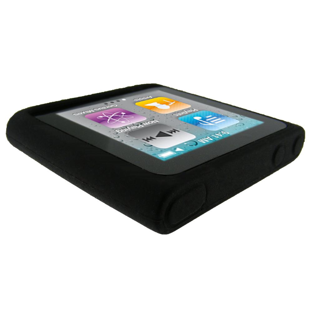 black silicone skin case for apple ipod nano 6th gen