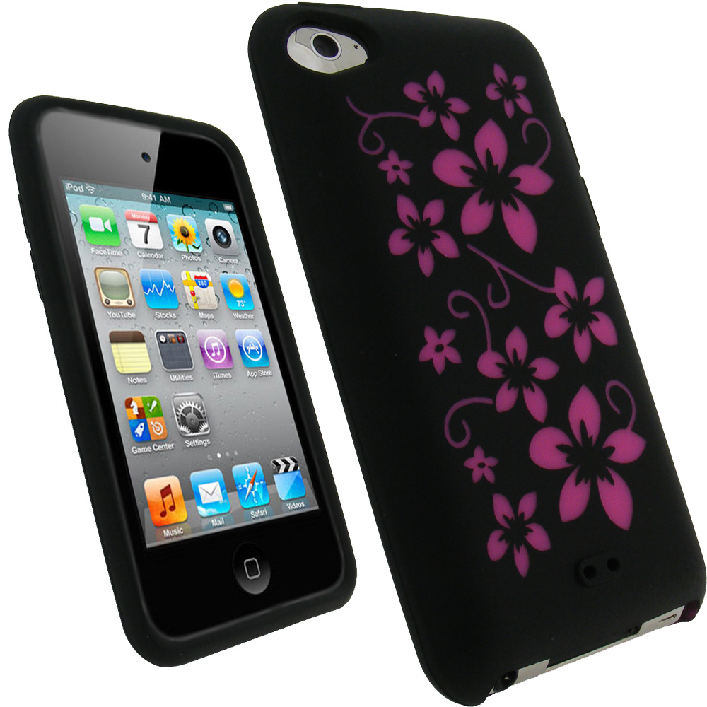 iGadgitz Black & Pink Flowers Silicone Skin Case Cover for Apple iPod Touch 4th Gen 8gb, 32gb, 64gb + Screen Protector