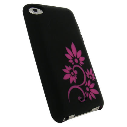 iGadgitz Black & Pink Flower Tattoo Silicone Skin Case for Apple iPod Touch 4th Gen 8gb, 32gb, 64gb + Screen Protector Thumbnail 2