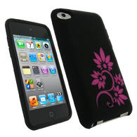 iGadgitz Black & Pink Flower Tattoo Silicone Skin Case for Apple iPod Touch 4th Gen 8gb, 32gb, 64gb + Screen Protector