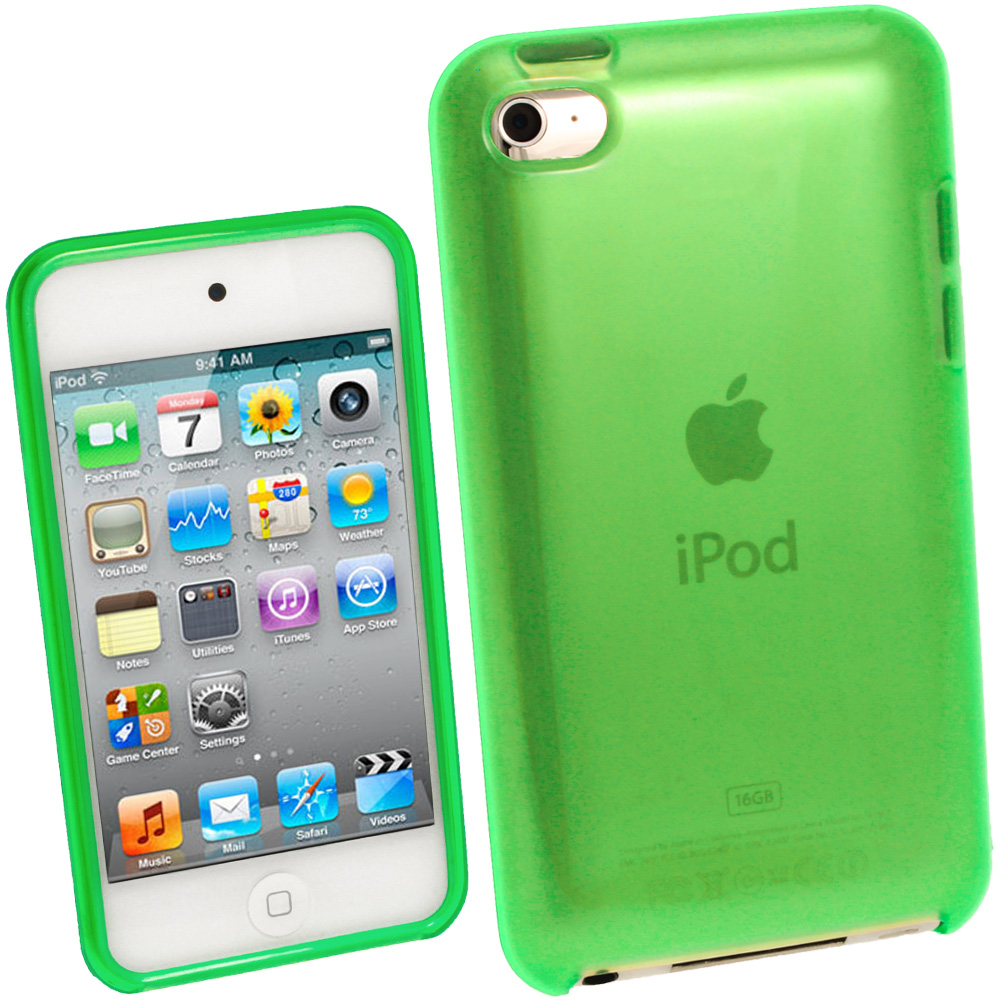 iGadgitz Green Durable Crystal Gel Skin Case Cover TPU for Apple iPod Touch 4th Gen 8gb, 32gb, 64gb + Screen Protector