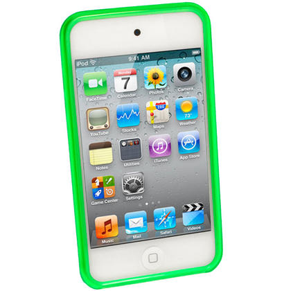 iGadgitz Green Durable Crystal Gel Skin Case Cover TPU for Apple iPod Touch 4th Gen 8gb, 32gb, 64gb + Screen Protector Thumbnail 2