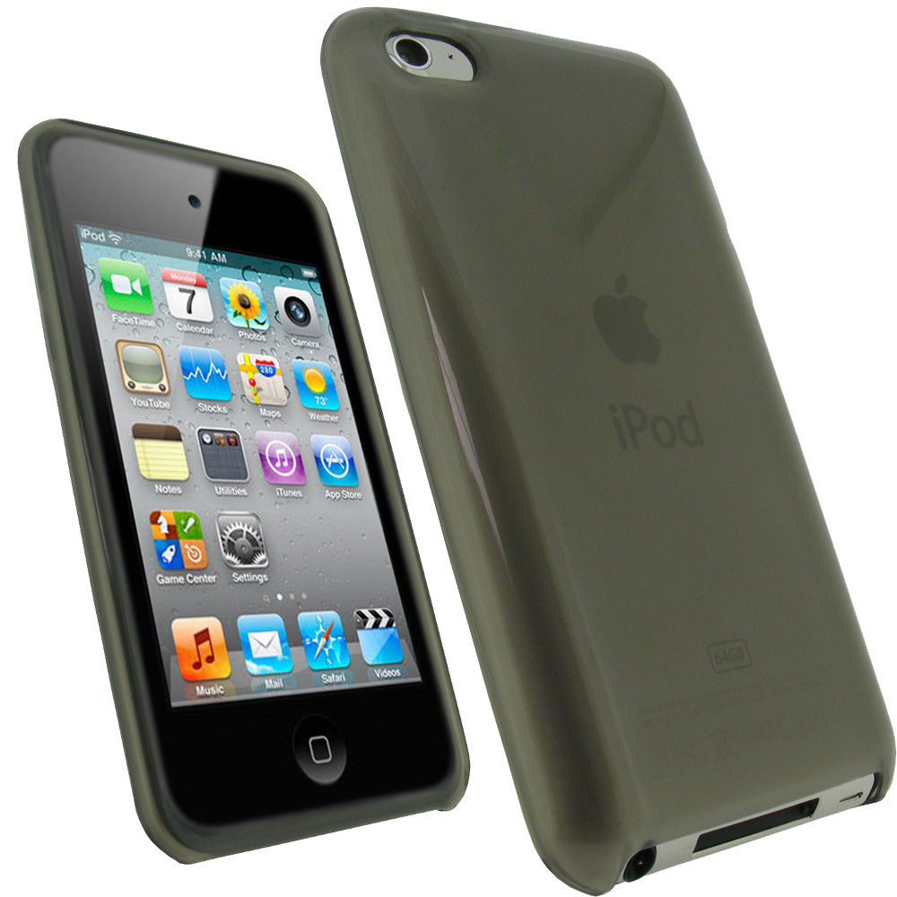 iGadgitz Black Durable Crystal Gel Skin Case Cover TPU for Apple iPod Touch 4th Gen 8gb, 32gb, 64gb + Screen Protector