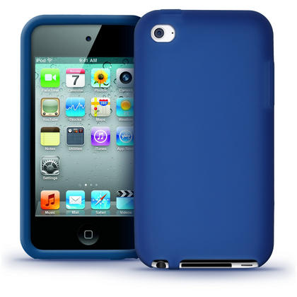 iGadgitz Blue Silicone Skin Case Cover for Apple iPod Touch 4th Generation 8gb, 32gb, 64gb + Screen Protector Thumbnail 1