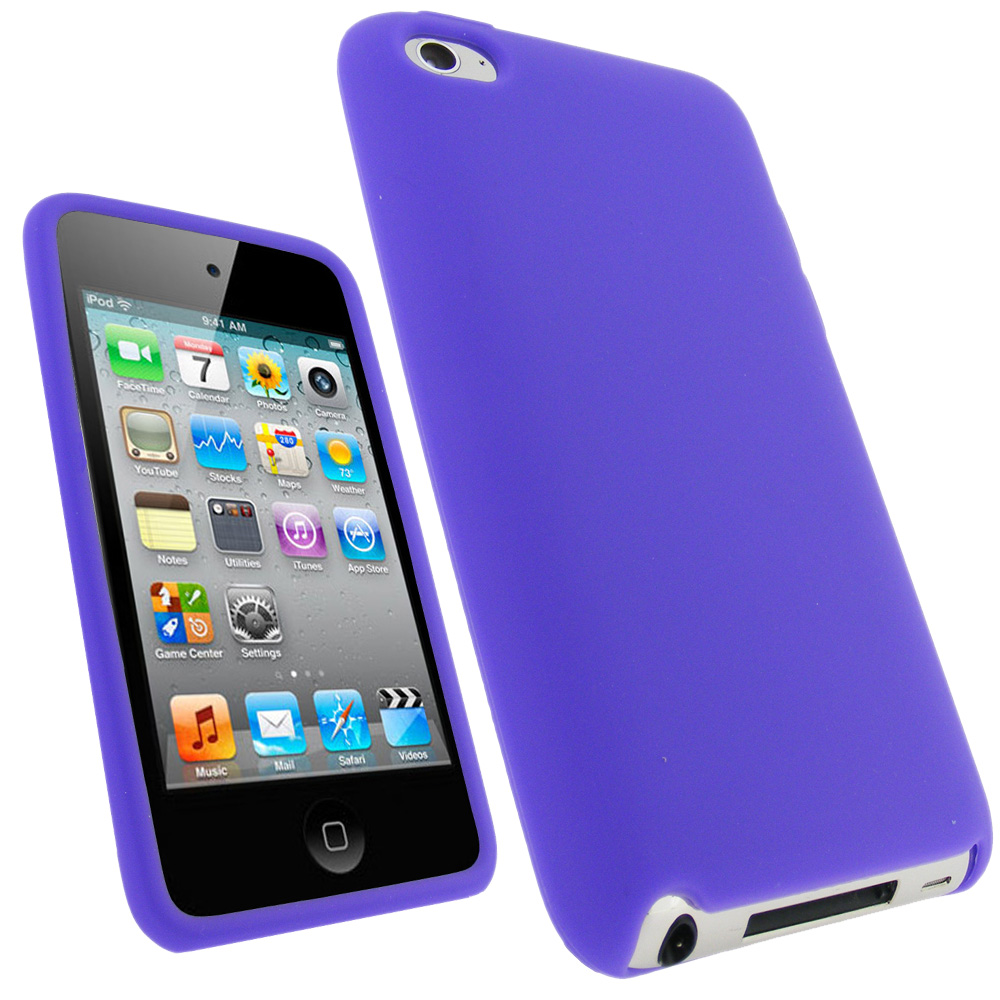 iGadgitz Purple Silicone Skin Case Cover for Apple iPod Touch 4th Generation 8gb, 32gb, 64gb + Screen Protector