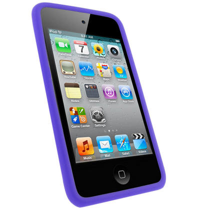 iGadgitz Purple Silicone Skin Case Cover for Apple iPod Touch 4th Generation 8gb, 32gb, 64gb + Screen Protector Thumbnail 2