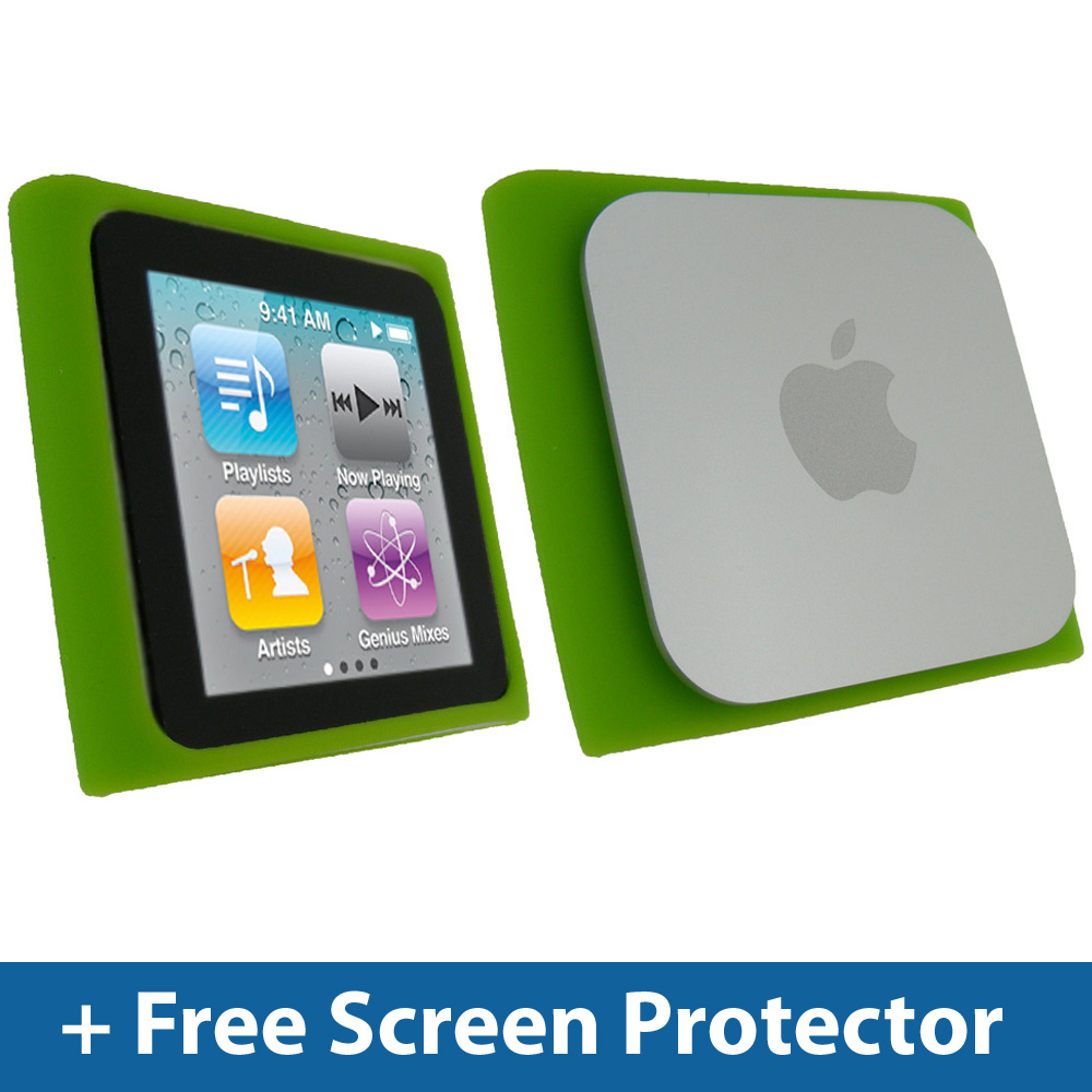 Green Silicone Skin Case for Apple iPod Nano 6th Gen Generation 6G Cover Holder Enlarged Preview