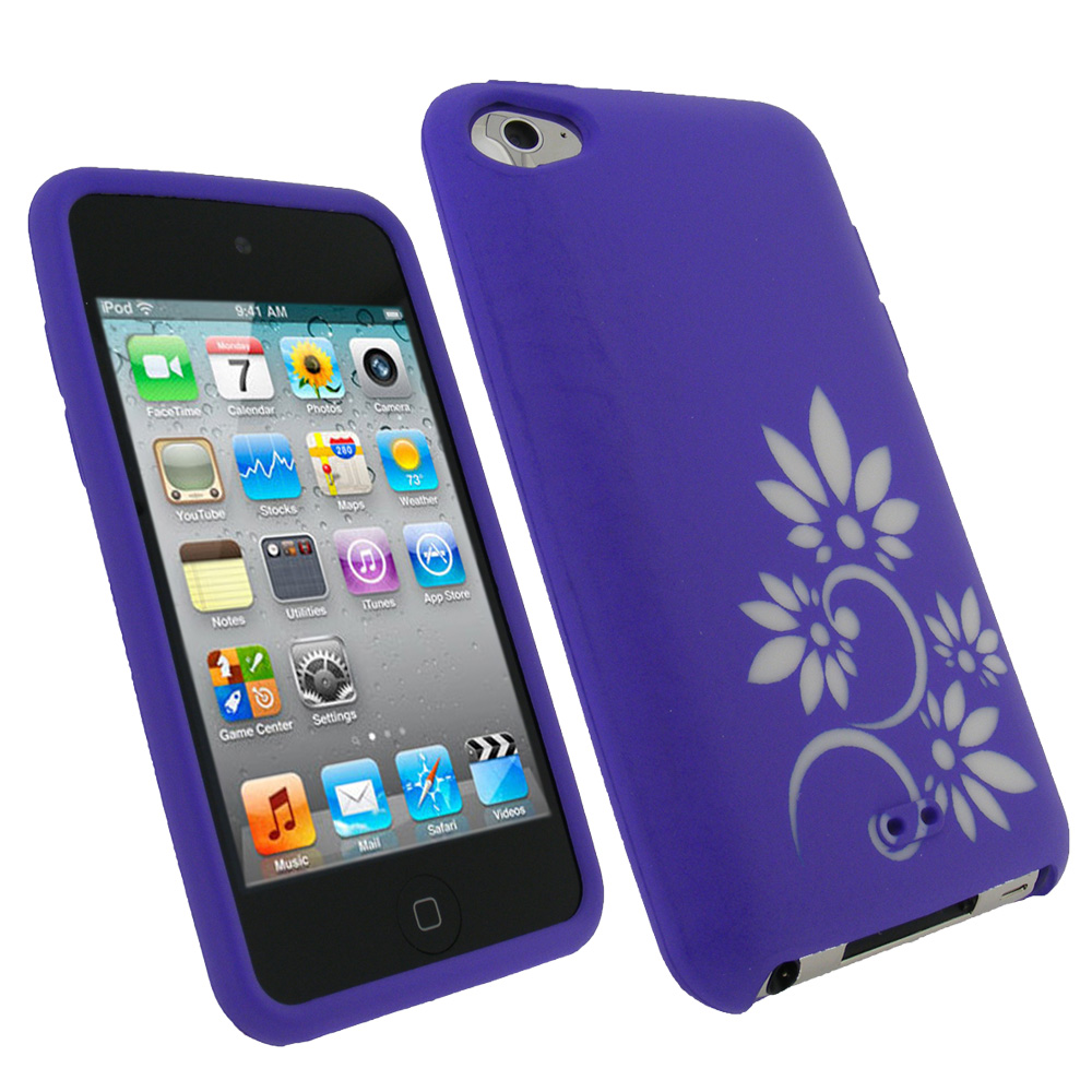 iGadgitz Purple & White Flower Tattoo Silicone Skin Case for Apple iPod Touch 4th Gen 8gb, 32gb, 64gb + Screen Protector