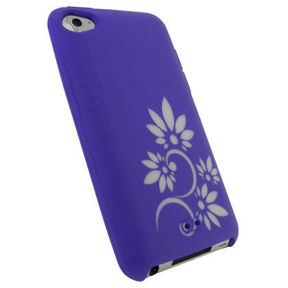 iGadgitz Purple & White Flower Tattoo Silicone Skin Case for Apple iPod Touch 4th Gen 8gb, 32gb, 64gb + Screen Protector Thumbnail 2