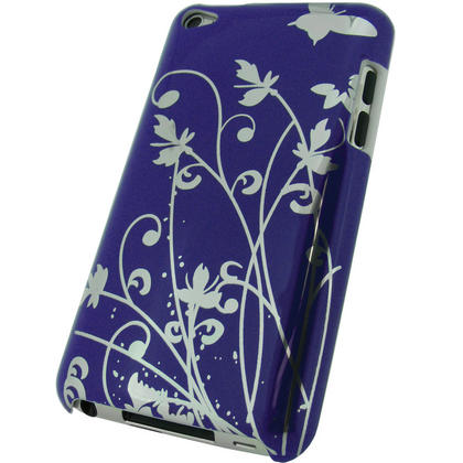 iGadgitz Purple Hard Case with Silver Butterfly Design for Apple iPod Touch 4th Gen 8gb, 32gb, 64gb + Screen Protector Thumbnail 3