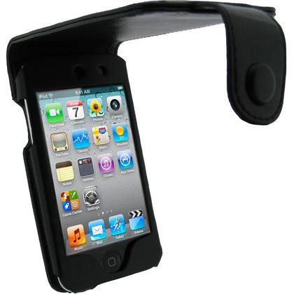iGadgitz Black Leather Case Cover for Apple iPod Touch 4th Gen 8gb, 32gb & 64gb + Belt Clip & Screen protector Thumbnail 1