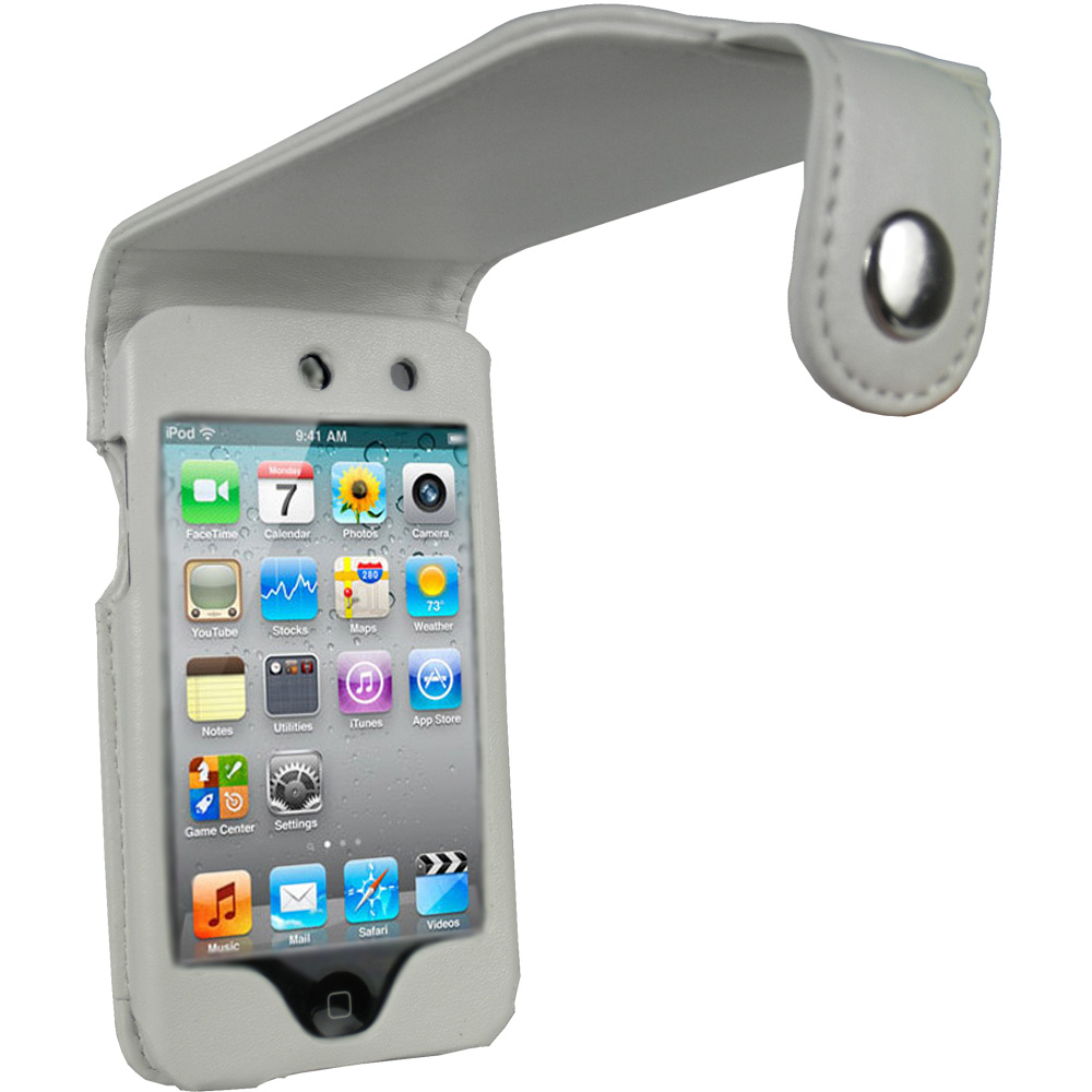 iGadgitz White PU Leather Case Cover for Apple iPod Touch 4th Generation 8gb, 32gb & 64gb + Belt Clip & Screen protector