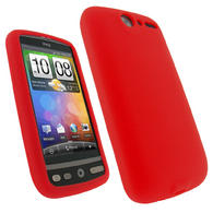 View Item iGadgitz Red Silicone Skin Case Cover for HTC Desire Bravo G7 Android Smartphone Mobile Phone + Screen Protector