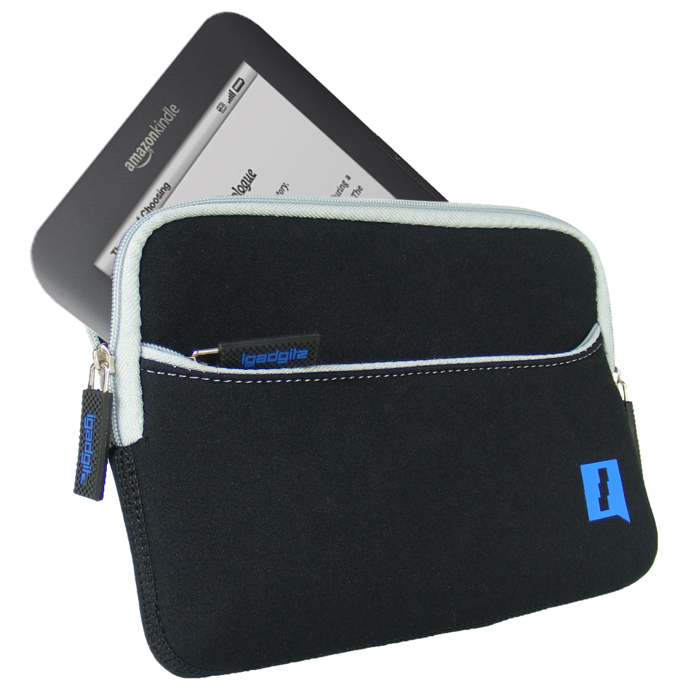 iGadgitz Black Neoprene Sleeve Case with Pocket for Amazon Kindle 3 Keyboard Graphite (Version Released Aug 2010)